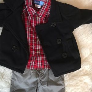 Holiday party outfit red plaid peacoat gap